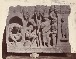Sculpture slab from Rhode Tope, Sanghao, Peshawar District: Buddha meeting two ascetics